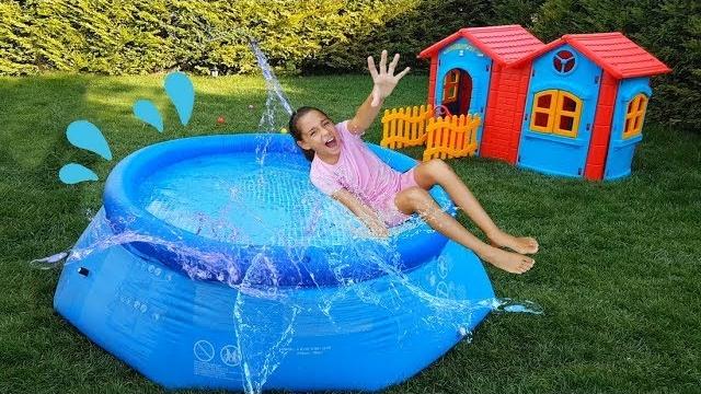 Melike Havuza Düştü Fell into The Pool,Learn Colors With - Funny Oyuncax