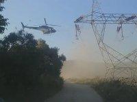 Helikopter ile Yüksek Gerilim Hattı Yıkama