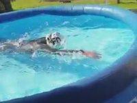Şişme Havuzda Olimpiyatlara Hazırlanan Yüzücü