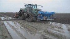 paletli traktörle çeltik ekimi
