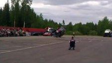 Valtra N Series balancing on two wheels