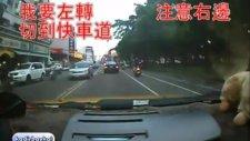 Dikkatsiz motorsikletlinin kaza anı!