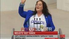 Sabahat Akkiraz Meclis kürsüsüne çapulcu tişörtüyle çıktı