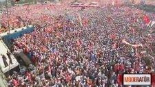 İstanbul'daki AK Parti mitinginin helikopter görüntüsü
