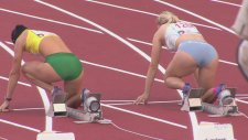 Gorgeous Slovenian & Lithuanian Female Sprint Hurdlers' Start From Their Back