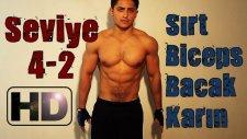 Evde Kas Yapma Vücut Geliştirme Hareketleri, Antrenmanı Seviye 4-2 Sırt Barfix Biceps Bacak Karın