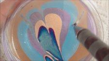 Nail art - Suda Oje Desenleri 2 - Simli Ebruli