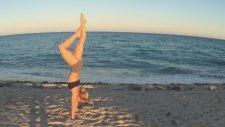 Beach Yoga Lotus Handstand With Kino