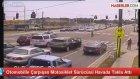 Otomobille Çarpışan Motosiklet Sürücüsü Havada Takla Attı