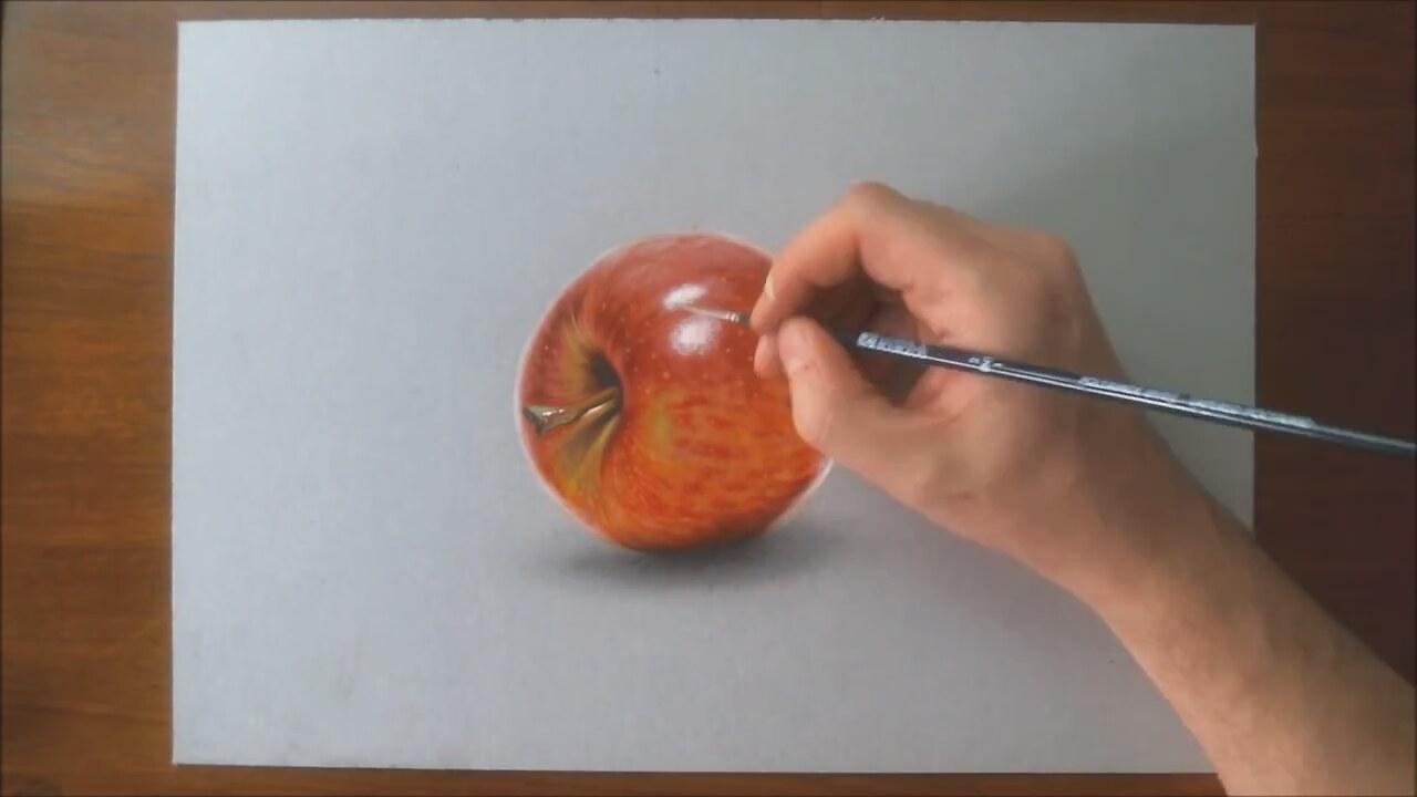 Gerçek Gibi Elma çizimi Izlesenecom