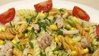 Ton Balıklı Mısırlı Kolay Sebzeli Makarna Salatası Tarifi