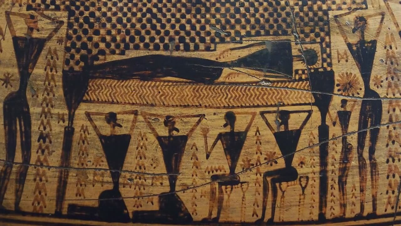dipylon krater Krater: a large bowl for the mixing of wine and water at the symposium or banquet examples of greek pottery painting-dipylon amphora (athens).