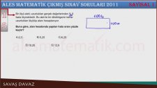 2011 Ales Sonbahar Çıkmış Sınav Soruları ve Çözümleri Soru 15