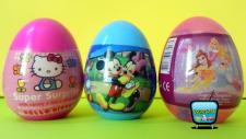 3 Sürpriz Yumurta Açımı! Disney Prensesler Hello Kitty  Mickey Mouse Oyuncakları