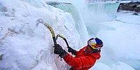 Donmuş Hali ile Niagara Şelalesine Tırmanan Adam