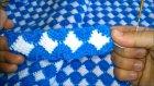 Tığ ve Tunus İşi Birleşimi Mavi Beyaz Battaniye Yapılışı 3