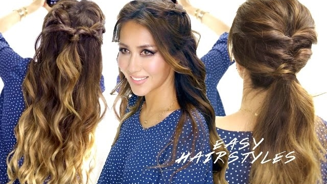cute ponytail styles for medium hair 2 easy hairstyles braided half up amp 2513 | 2 super easy spring hairstyles braided half up cute ponytail hairstyle 8345921 9416 1200x630
