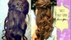 CUTE HAIRSTYLES HAIR TUTORIAL WITH TWIST-CROSSED CURLY HALF-UP UPDOS PONYTAIL FOR MEDIUM LONG HAIR