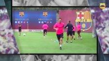 Messi ve Neymar'ın Antrenmanda Topu Kafada Sektirerek Basket Atması