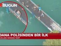 Adana Polisinden Sulama Kanalında Yüzenlere Helikopterli Önlem