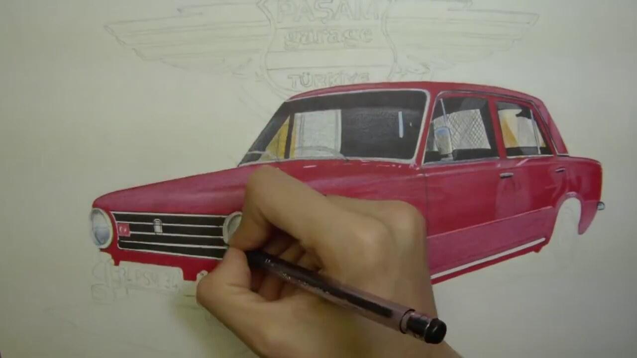 Tofaş Murat 124 çizimi Araba çizimleri Car Drawing Art Izlesenecom