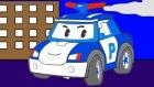 Çizgi film - Robocar Poli - Polis arabası, Helikopter, Temizlik arabası (Renkleri öğreniyoruz)