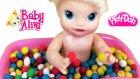 Baby Alive Oyuncak Bebek Oyun Hamuru Renkli Top Banyosu Yapıyor