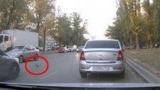 Kuşa Çarpmamak İçin Zincirleme Kazaya Neden Olan Şanssız Sürücü
