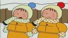 Üçüzler Çizgi Filmi Kardan Adam Yapmayı Öğreniyorlar