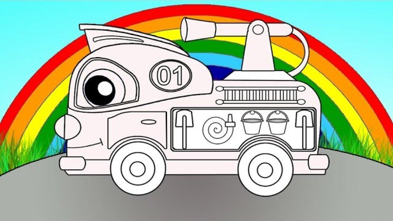 Eğitici çizgi Film Sihirli Gök Kuşağı Renkler Itfaiye Arabası