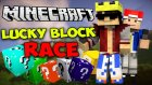 Minecraft : LUCKY BLOCK RACE ! - Bölüm #3 w/Kraker