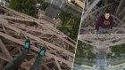 Eyfel Kulesine Tırmanan Maceracı İkiliden Enfes Paris Manzarası