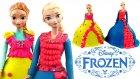 Oyun Hamuru Karlar Ülkesi Elsa ve Anna Sürpriz Oyuncaklı 2 DEV Elbise Tasarımı