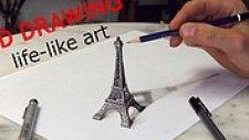 Optik İllüzyon Ustasından 3 Boyutlu Eiffel Kulesi Çizimi