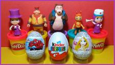 Maşa ve Ayı Oyuncakları ve Örümcek Adam Disney Prensesleri ve Kinder Sürpriz Yumurtaları