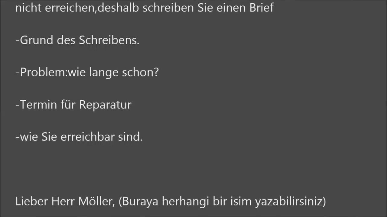 Almanca Mektup örnekleri A1 A2 B1 B2 Sinavlari Icin Teil 1