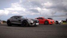 Audi R8 ile Mercedes-AMG'ler ile kapıştı
