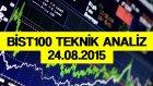 XU100 (Bist100) Günlük ve Saatlik Grafik İncelemesi (24.08.2015)