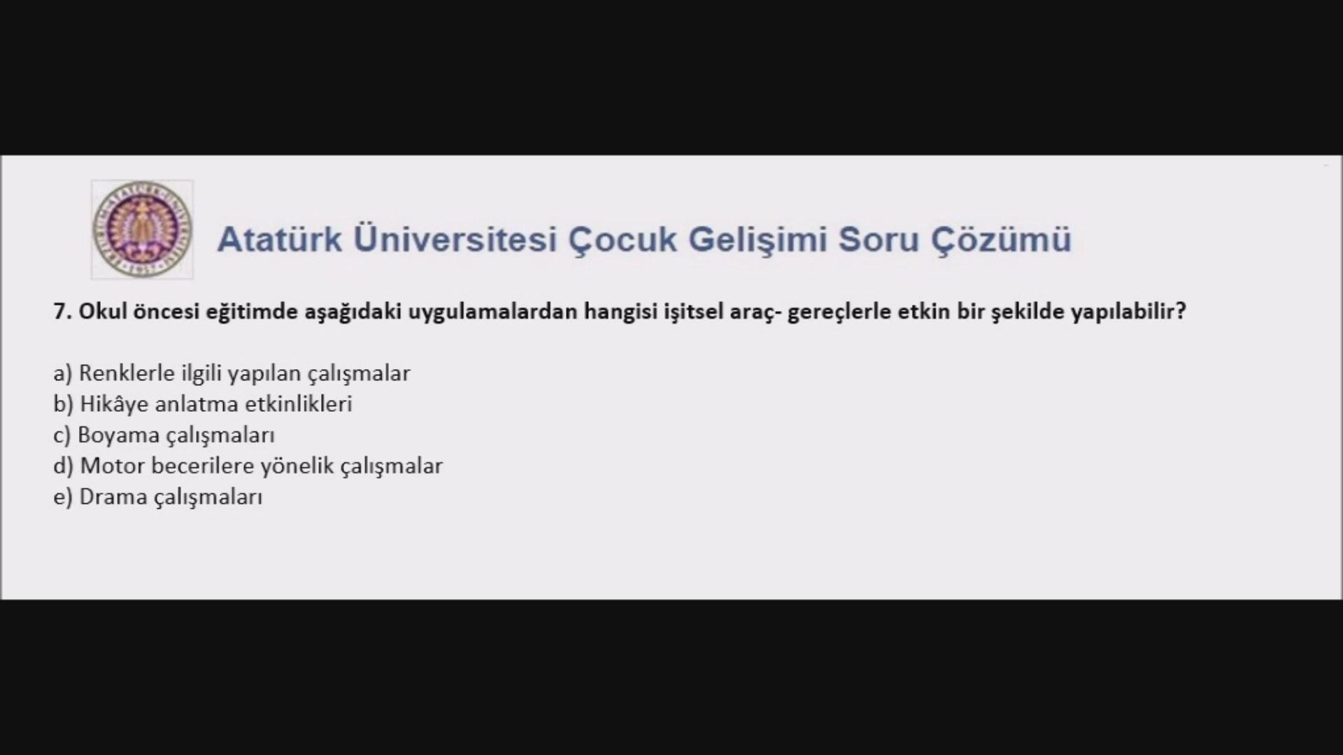 Atatürk üniversitesi çocuk Gelişimi Araç Gereç Geliştirme Dersi 1