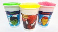 Slime Clay Örümcek Adam Demir Adam ve Hulk Bardaklarında Sürpriz Oyuncaklar MLP Hello Kitty Batman