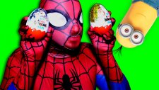 In Real Life Spiderman vs Giant Kinder Surprise Egg | Minions Toys
