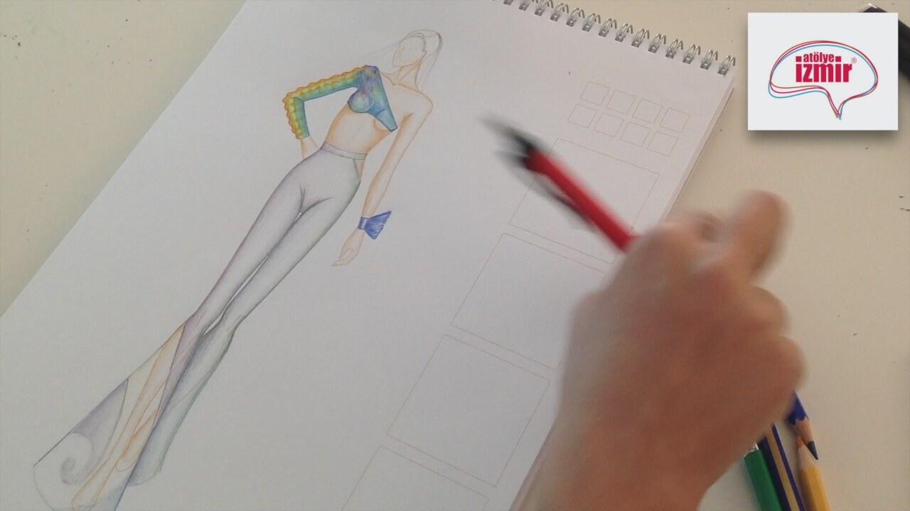 Moda Tasarim Stilistlik Renkli Elbise Cizimi Kiz Cizimleri