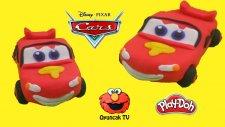 Arabalar Şimşek McQueen Karakteri Play-Doh Oyun Hamuru ile Yapımı