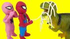 Spiderman Vs T-REX Dinozor Pink Spidergirl Play Doh Stop Motion Gerçek hayatta kahramanlar