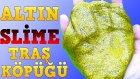 Traş Köpüğü ile Altın Renkli Slime Nasıl Yapılır Kurumayan Gold Slime Yapımı