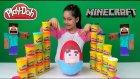 Minecraft Steve Dev Sürpriz Yumurta Oyun hamuru | Minecraft Paketleri Ve Minecraft Steve Oyuncakları