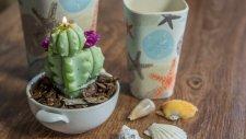 Canlı Çiçek Görünümlü Dekoratif Mum Aranjmanı