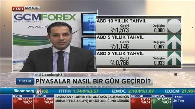 26.07.2016 - Bloomberg HT - 3. Seans - GCM Menkul Kıymetler Araştırma Müdürü Dr. Tuğberk Çitilci
