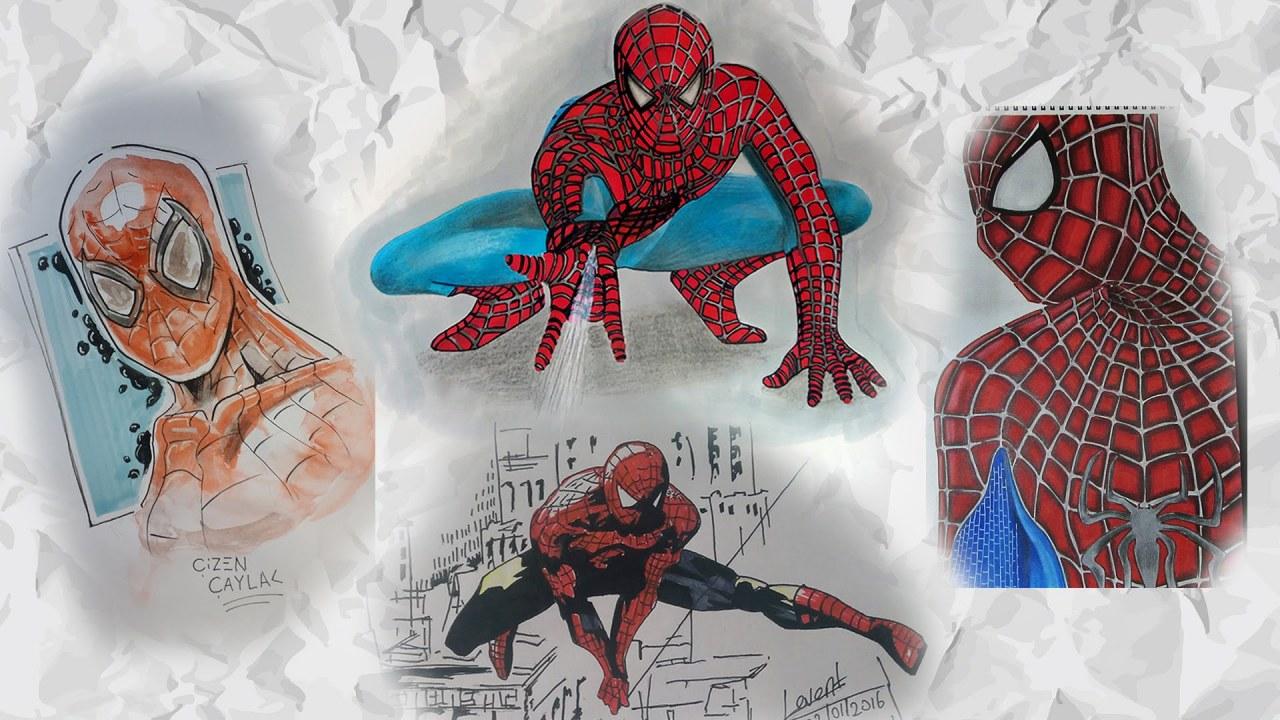 Spiderman çizimleri Dört çizer Bir Videoda Izlesenecom