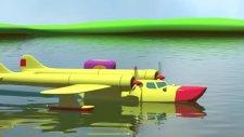 3D Çizgi Film Animasyon Dizi - Havalimani deniz ucagi ve sayılar